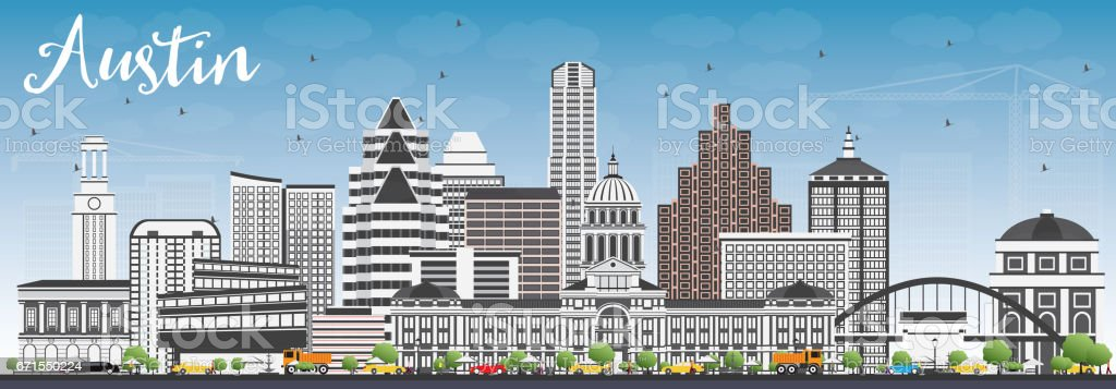 Austin Skyline with Gray Buildings and Blue Sky. vector art illustration