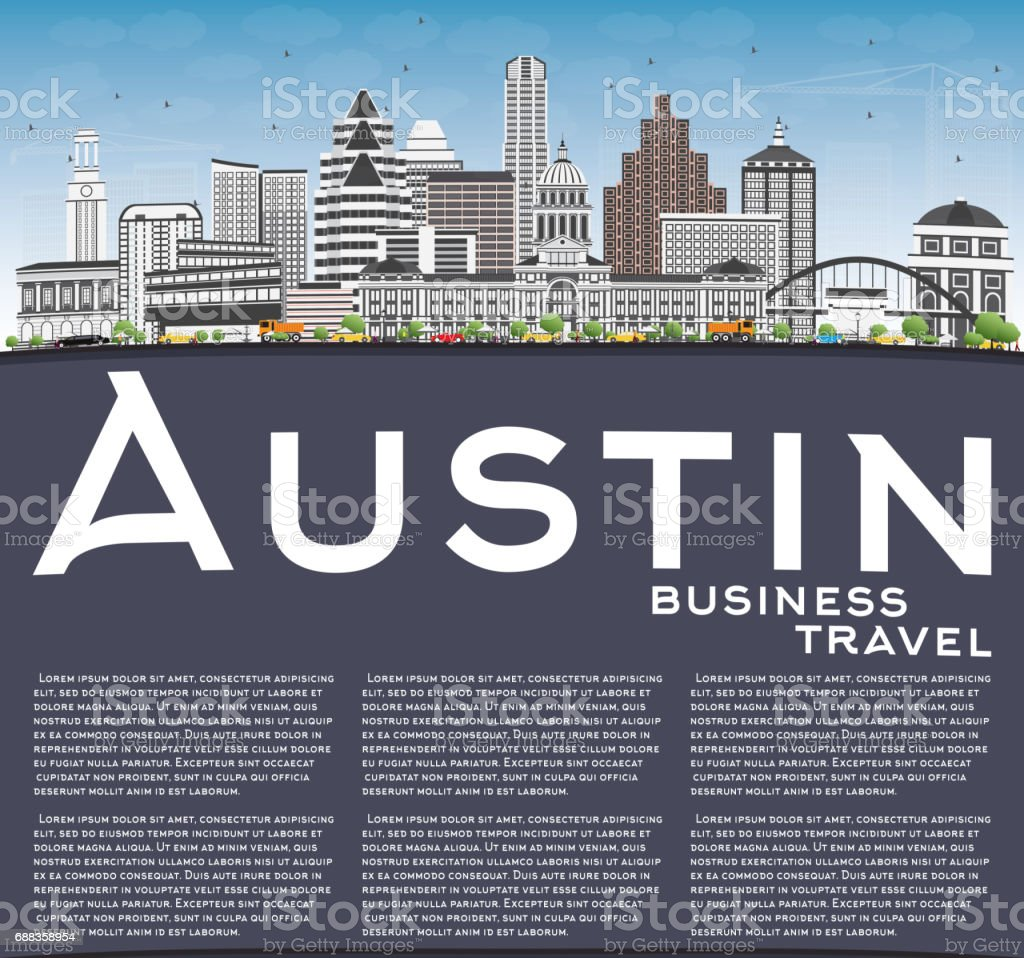 Austin Skyline with Gray Buildings, Blue Sky and Copy Space. vector art illustration