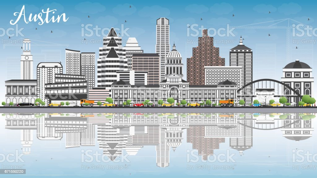 Austin Skyline with Gray Buildings, Blue Sky and Reflections. vector art illustration