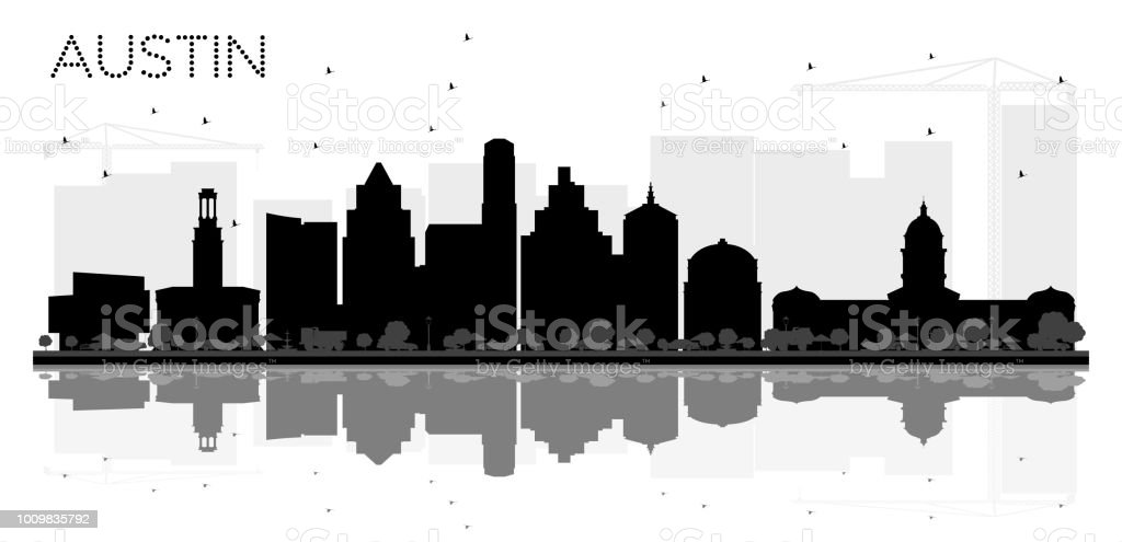 Austin Texas City skyline black and white silhouette with Reflections. vector art illustration