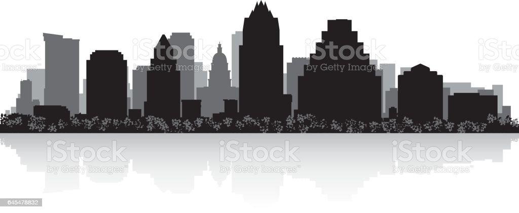Austin Texas city skyline silhouette vector art illustration