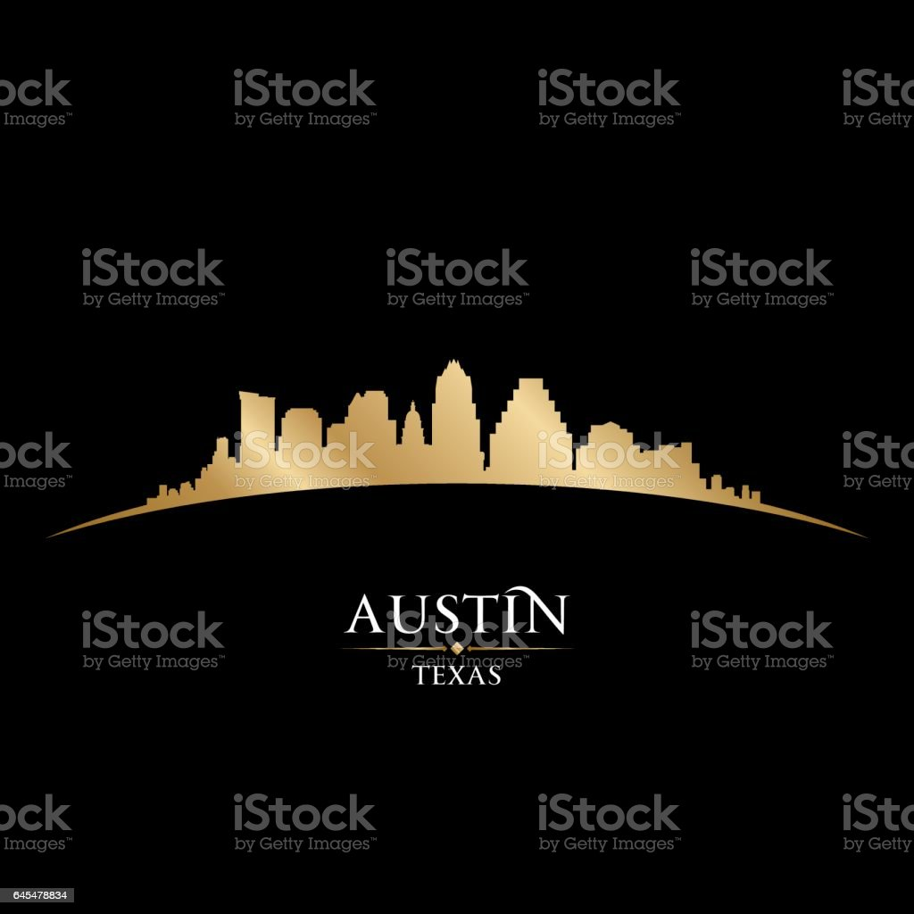 Austin Texas city skyline silhouette vector art illustration