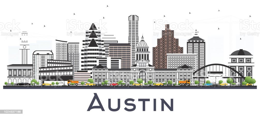 Austin Texas City Skyline with Gray Buildings Isolated on White. vector art illustration
