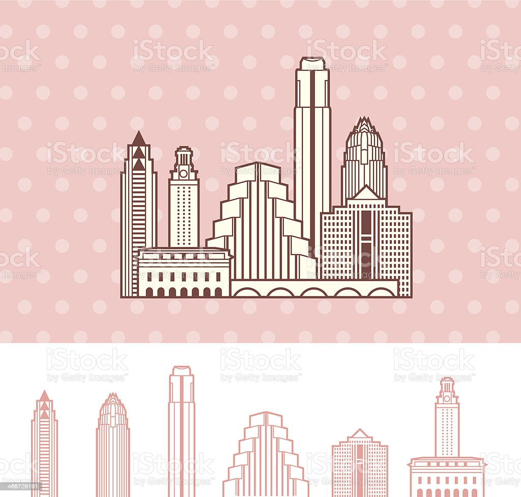 Austin, Texas Cityscape Skyline vector art illustration