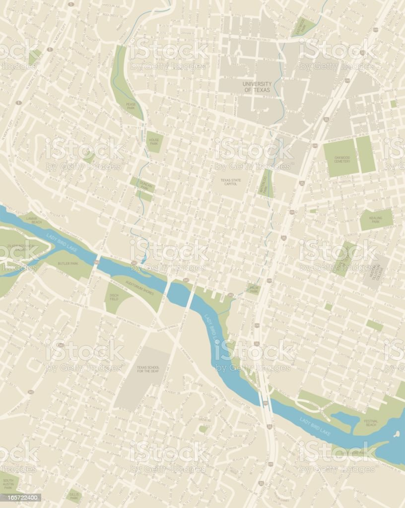 Austin Texas Downtown Area Map vector art illustration
