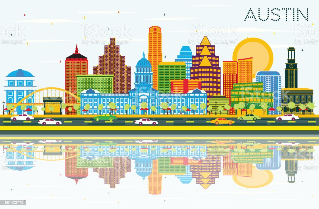 Austin Texas Skyline with Color Buildings, Blue Sky and Reflections. vector art illustration