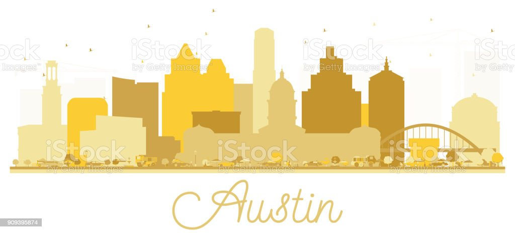 Austin Texas USA City skyline golden silhouette. vector art illustration