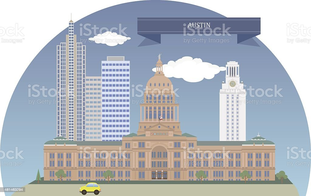 Austin. Texas, USA vector art illustration