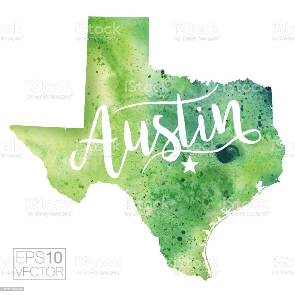 Austin, Texas, USA Vector Watercolor Map vector art illustration