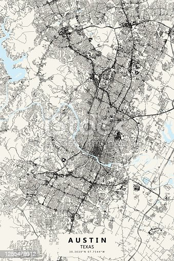 Poster Style Topographic / Road map of Austin, TX, USA.