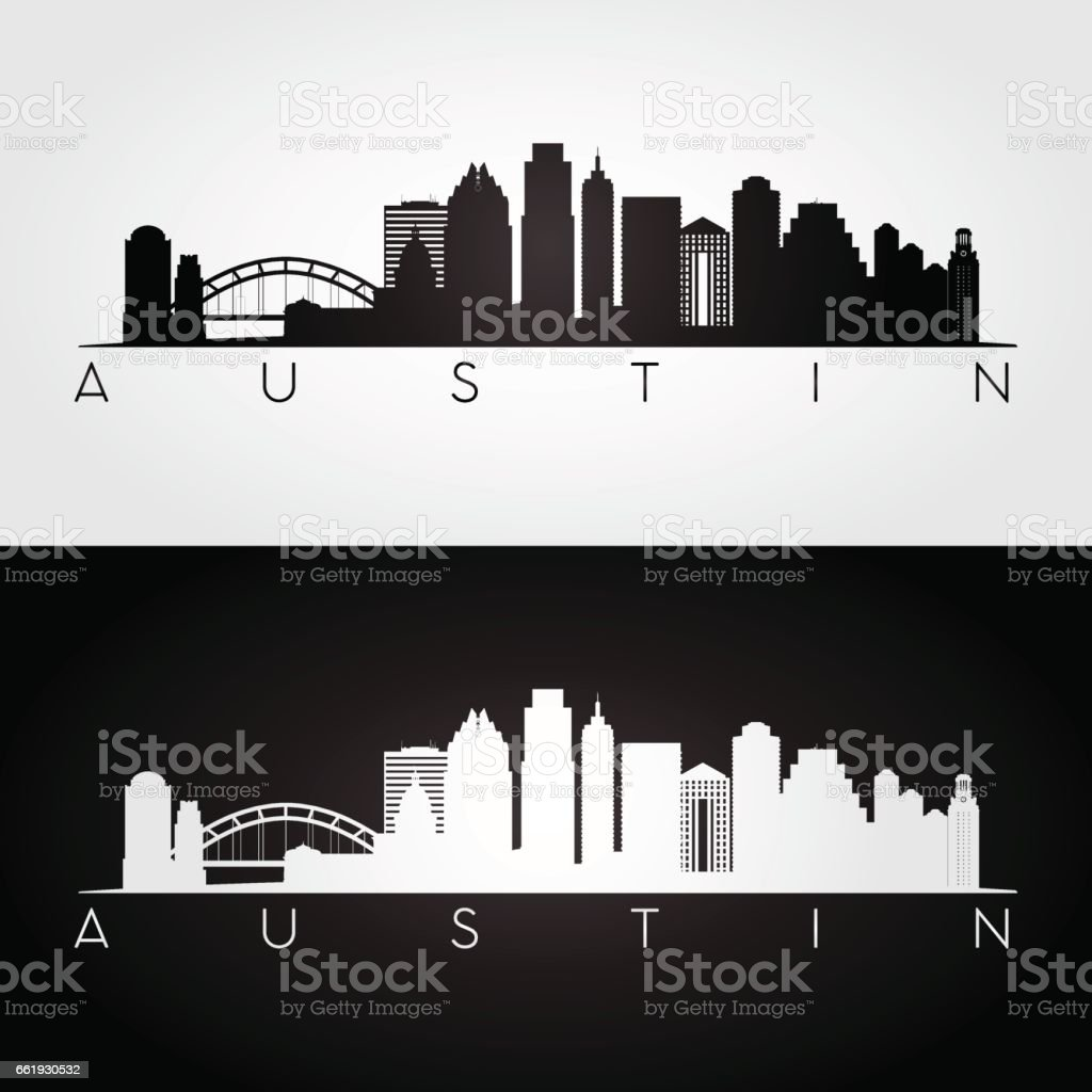 Austin USA skyline and landmarks silhouette vector art illustration