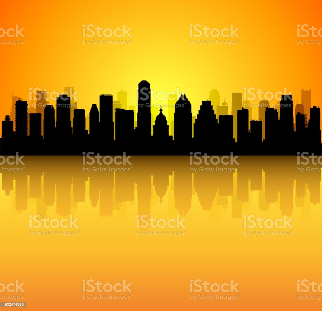 Austin (All Buildings Are Complete and Moveable) vector art illustration
