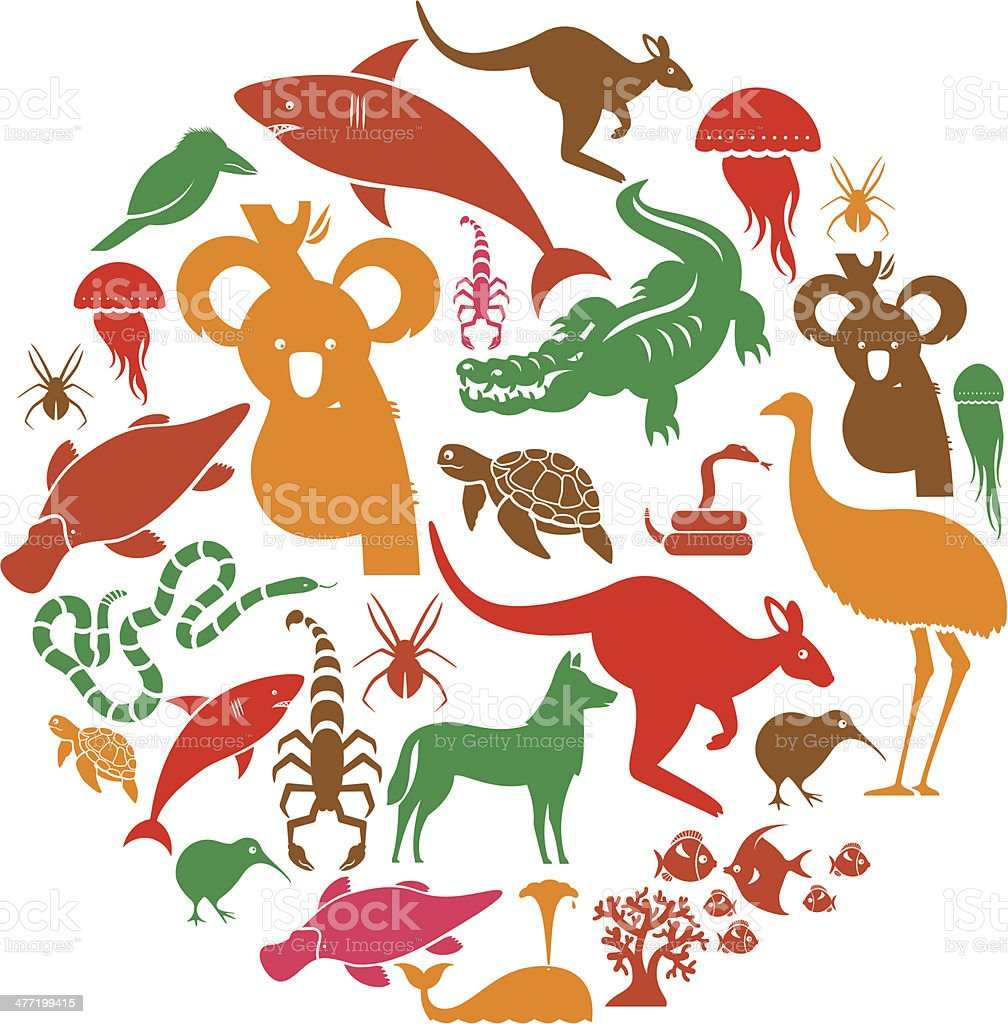 Australasian Animal Icon Set vector art illustration