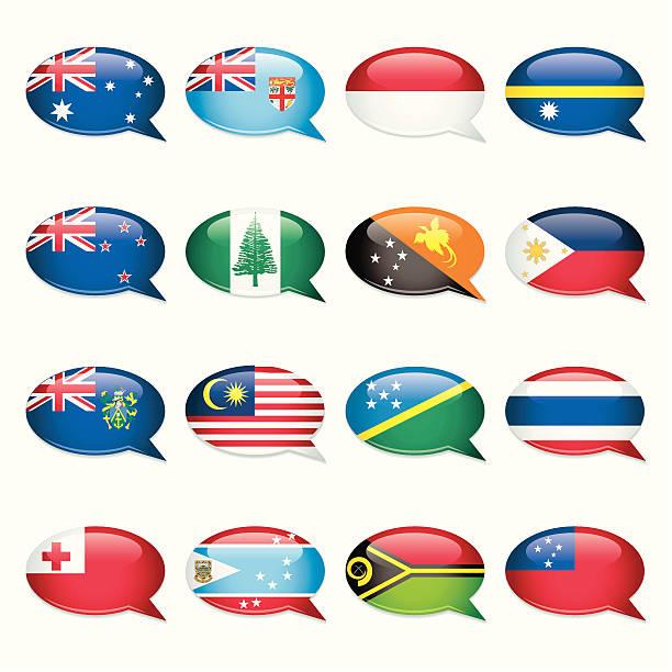 Australasia-Speech Bubble Flags vector art illustration