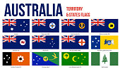istock Australia All States And Territory Flags Vector Illustration on White Background 1088363528