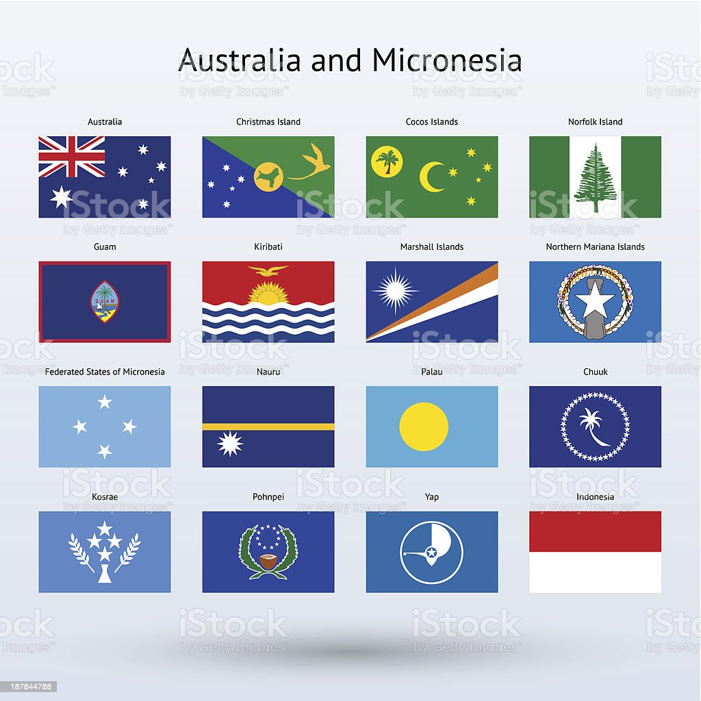 Australia and Micronesia Flags Collection royalty-free stock vector art