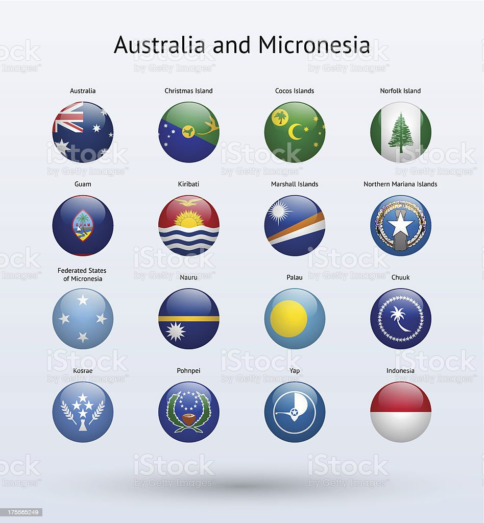 Australia and Micronesia Round Flags Collection royalty-free stock vector art