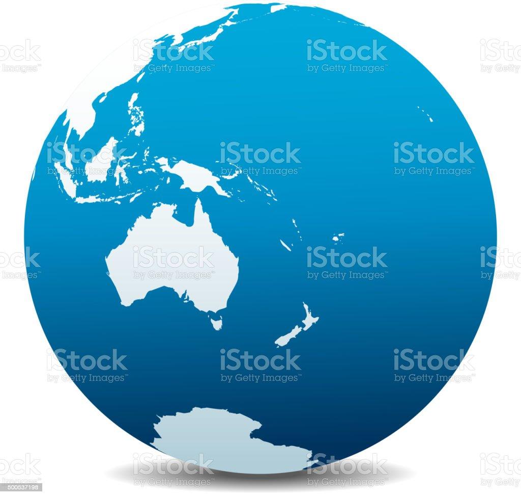Australia and New Zealand, Global World vector art illustration