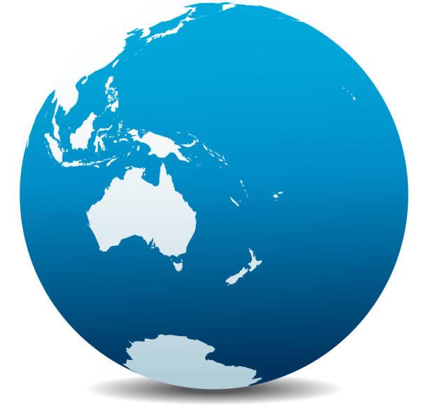 オーストラリア、ニュージーランド、グローバル世界 - 南極地図点のイラスト素材/クリップアート素材/マンガ素材/アイコン素材
