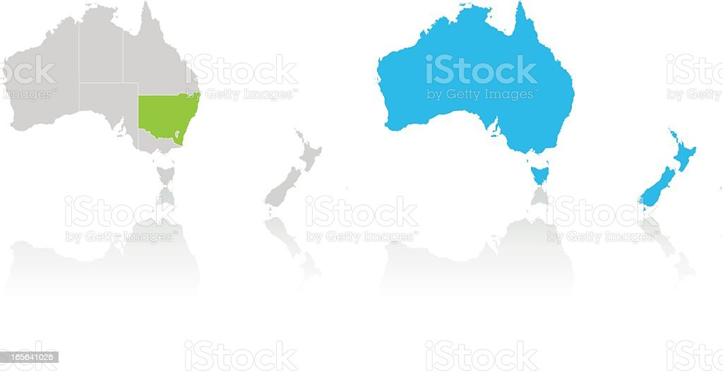 Australia and New Zealand highlighted by color on white map vector art illustration