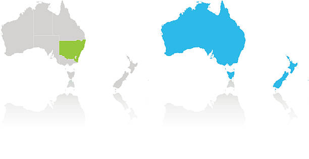 australia and new zealand highlighted by color on white map - western australia stock illustrations