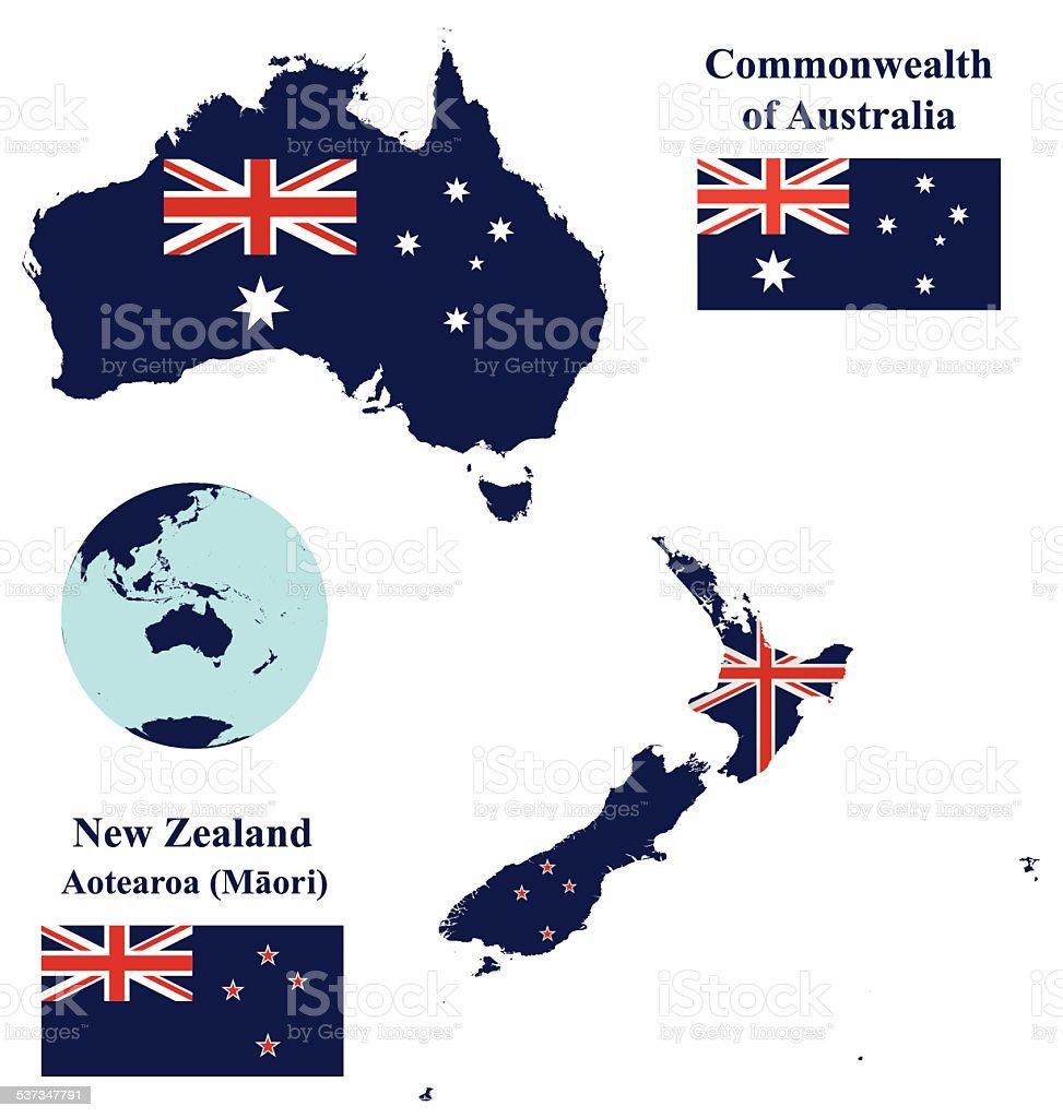australia and new zealand map flag stock vector art more. Black Bedroom Furniture Sets. Home Design Ideas