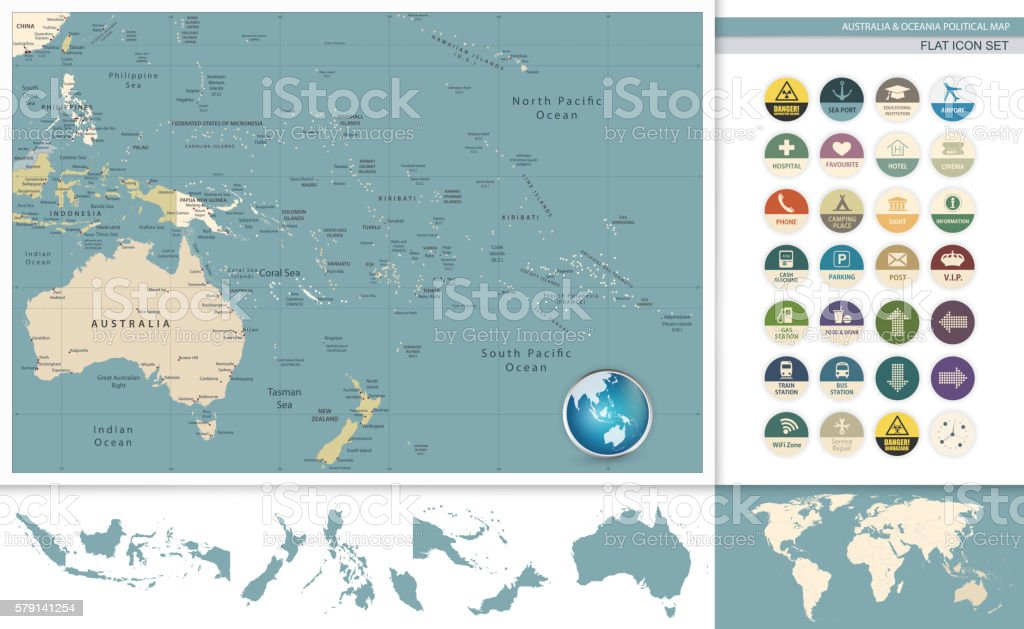 Australia And Oceania Detailed Retro Map And Flat Icon Set Stock