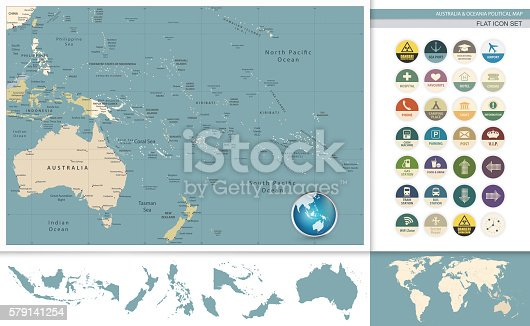 Australia and Oceania detailed retro map and flat icon set. All elements are separated in editable layers clearly labeled.