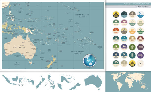 Australia and Oceania detailed retro map and flat icon set Australia and Oceania detailed retro map and flat icon set. All elements are separated in editable layers clearly labeled. flat physical description stock illustrations