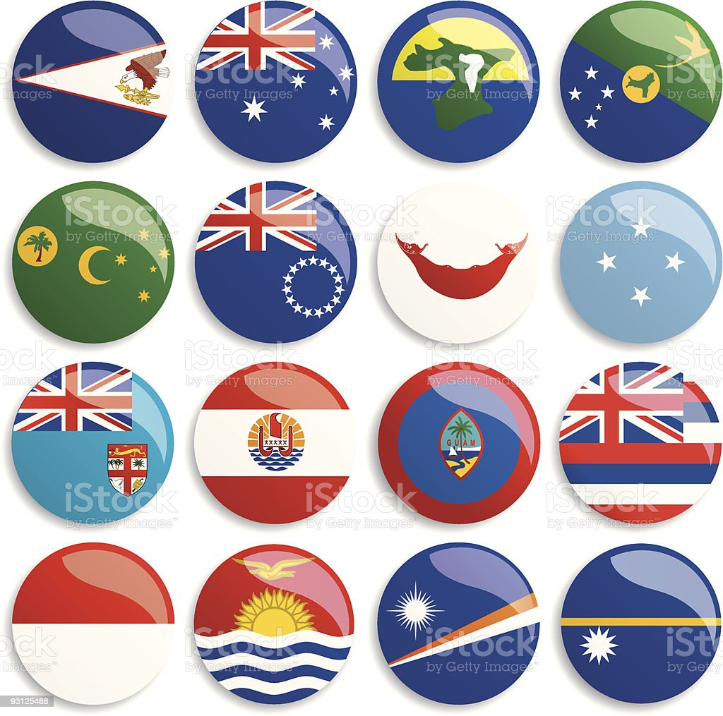 Australia and Oceania flags buttons royalty-free stock vector art