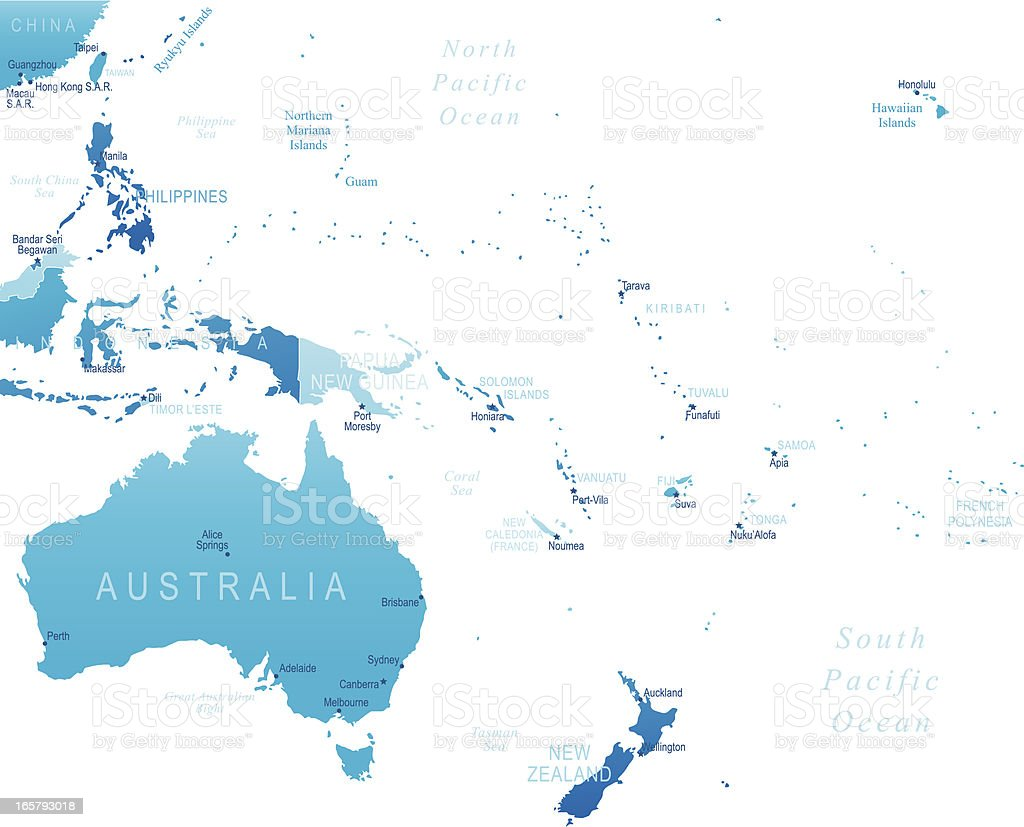 Australia and Oceania - highly detailed map vector art illustration