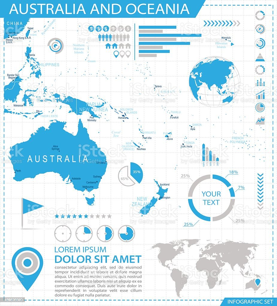 Australia And Oceania Infographic Map Illustration Stock Vector - Australia map infographic