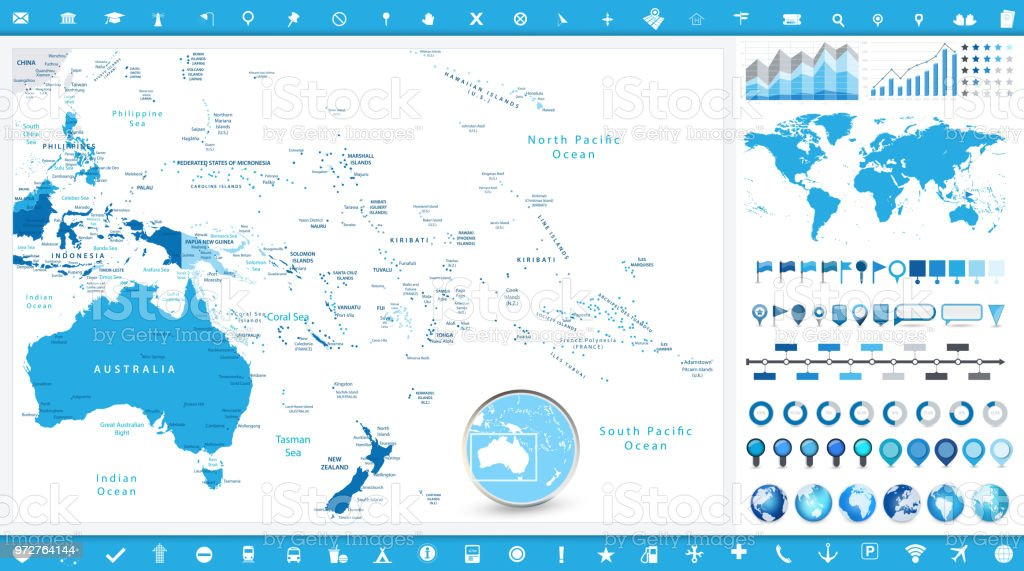 Australia And Oceania Map And Infographic Elements Stock Illustration -  Download Image Now