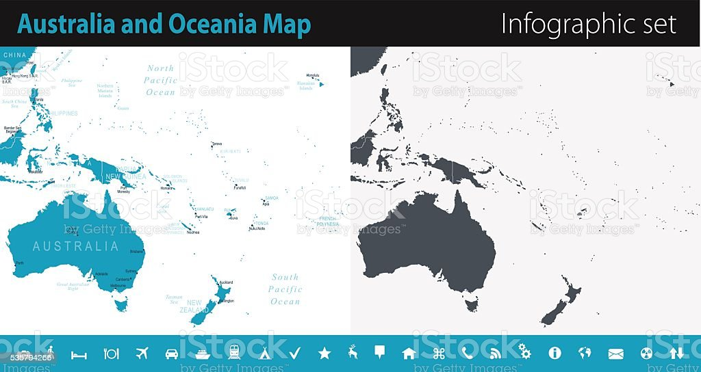 Australia And Oceania Map Infographic Set Stock Vector Art More