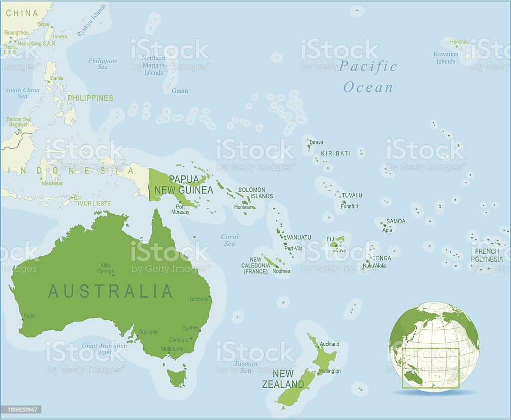 Australia And Oceania Map Stock Vector Art More Images of