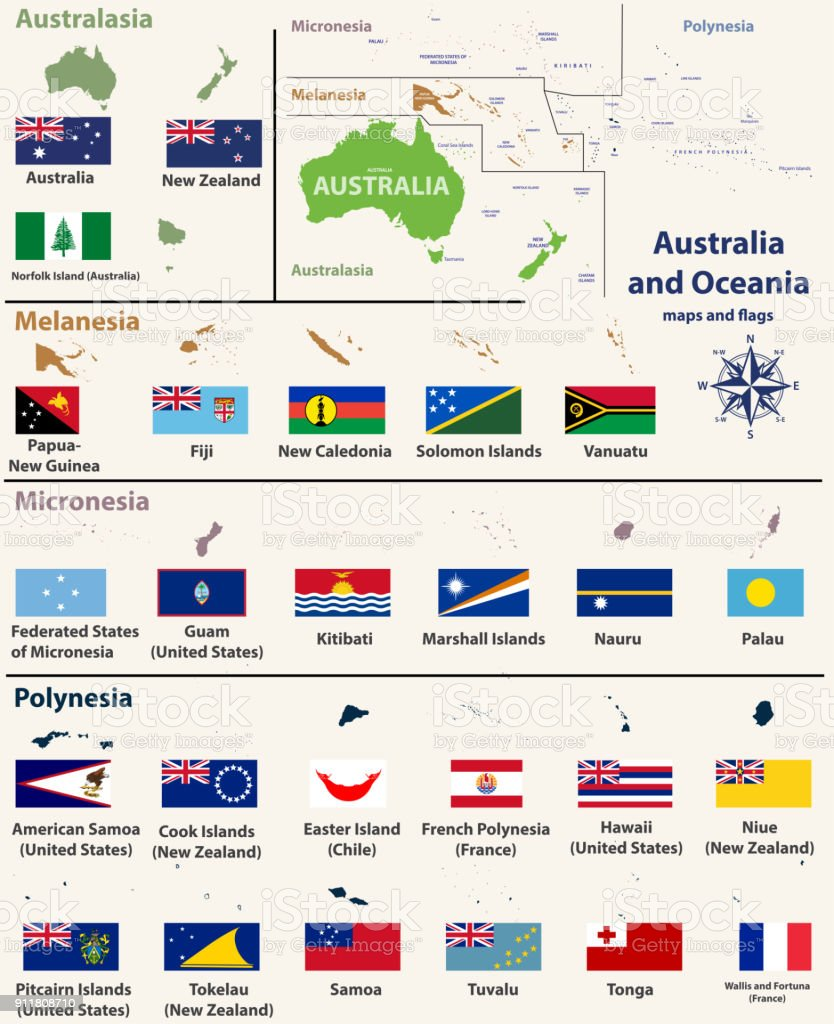 Country Map Of Australia.Australia And Oceania Map With Isolated Country Maps And Flags Stock
