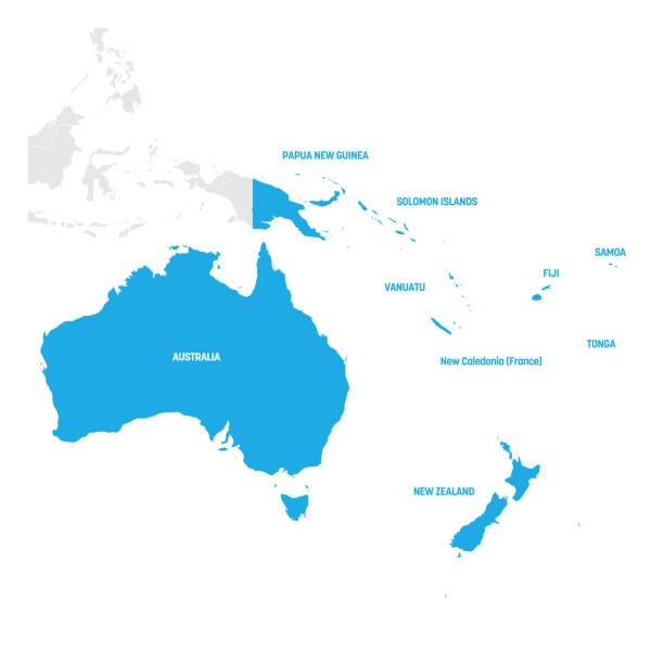 ilustraciones, imágenes clip art, dibujos animados e iconos de stock de región de australia y oceanía. mapa de países en el océano pacífico sur. ilustración vectorial - australia