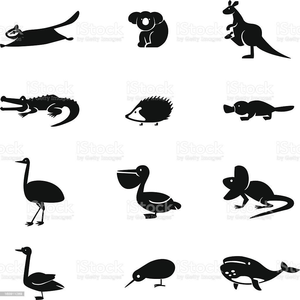 Australia Animal Icon Set vector art illustration