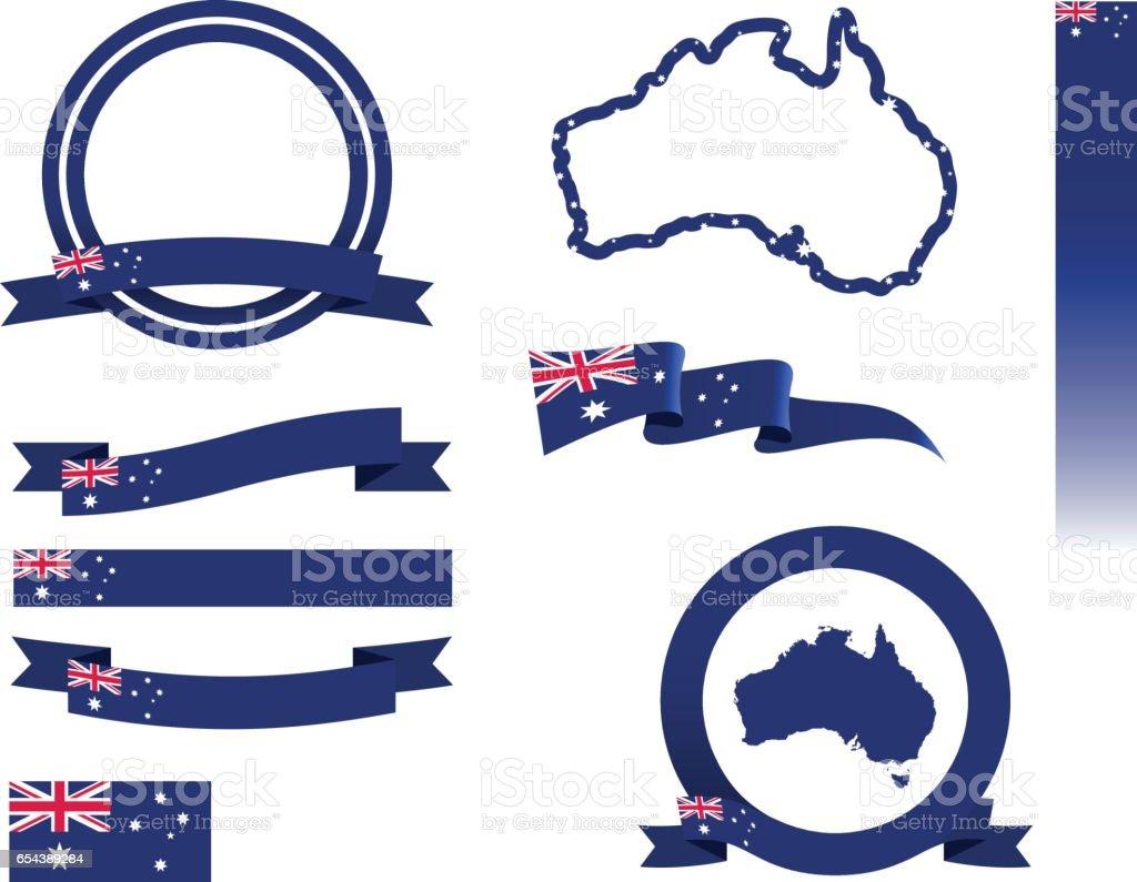 オーストラリアのバナーセット ベクターアートイラスト
