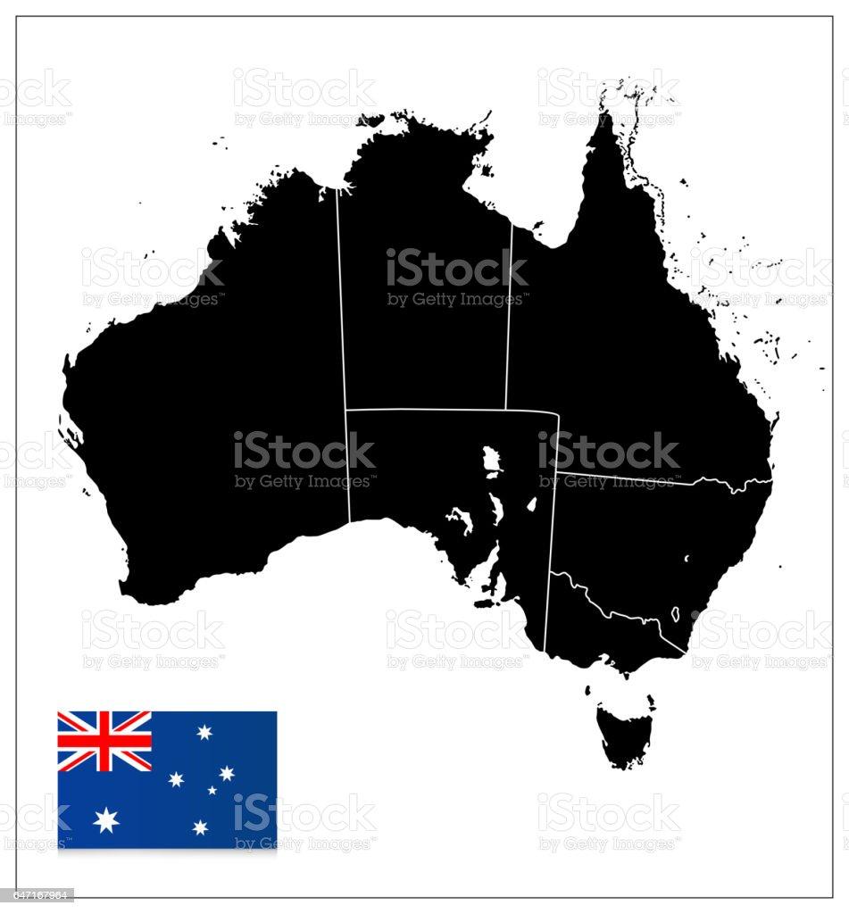 Australia Black Color Blank Map stock vector art 647167964 | iStock