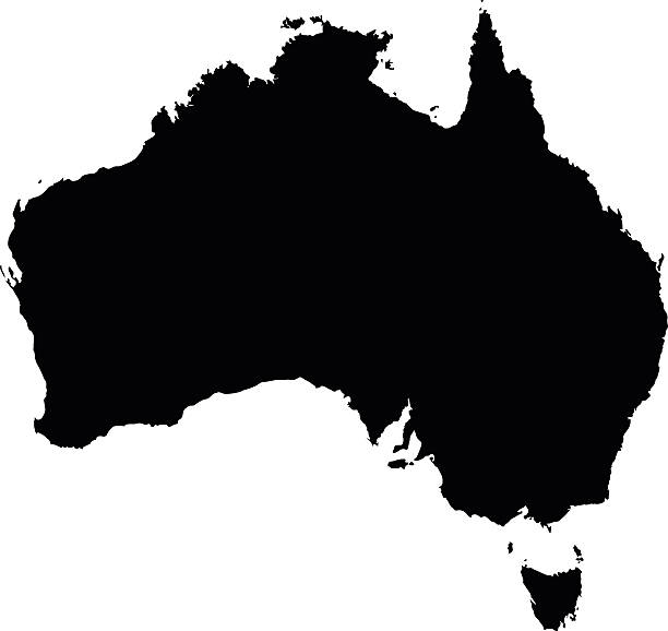 Australia black map on white background vector vector art illustration