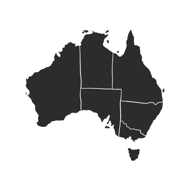 ilustraciones, imágenes clip art, dibujos animados e iconos de stock de mapa de australia del vector negro aislado sobre fondo blanco - australia