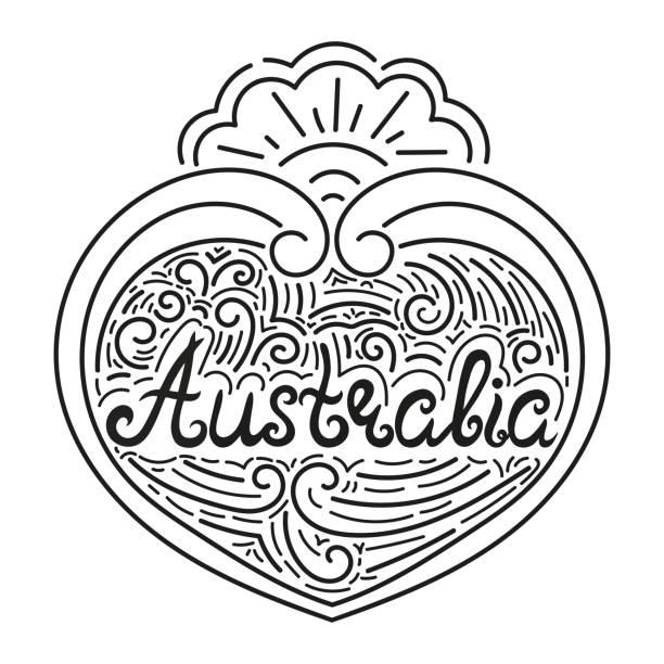ilustraciones, imágenes clip art, dibujos animados e iconos de stock de australia negro blanco línea tipografía ilustración aislada vector - tipos de letra de tatuajes