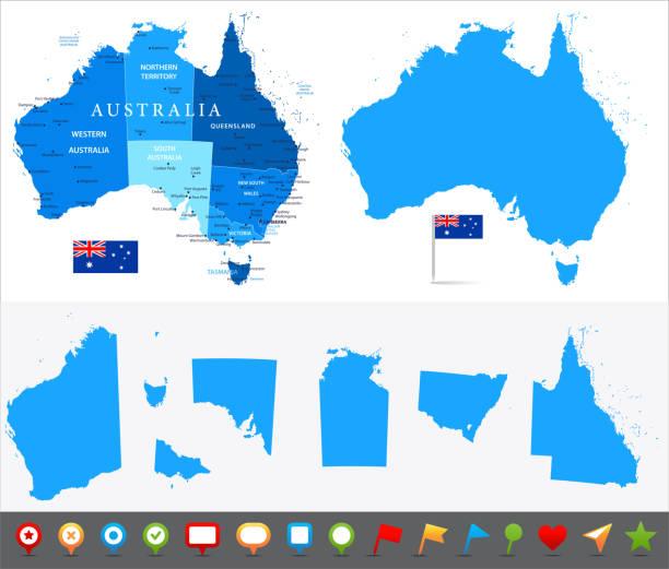 ilustraciones, imágenes clip art, dibujos animados e iconos de stock de 29 - australia - azul y piezas 10 - australia