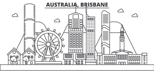 Australia, Brisbane architecture line skyline illustration. Linear vector cityscape with famous landmarks, city sights, design icons. Landscape wtih editable strokes vector art illustration