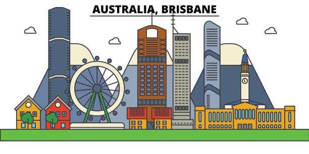 Australia, Brisbane. City skyline: architecture, buildings, streets, silhouette, landscape, panorama, landmarks. Editable strokes. Flat design line vector illustration concept. Isolated icons set vector art illustration