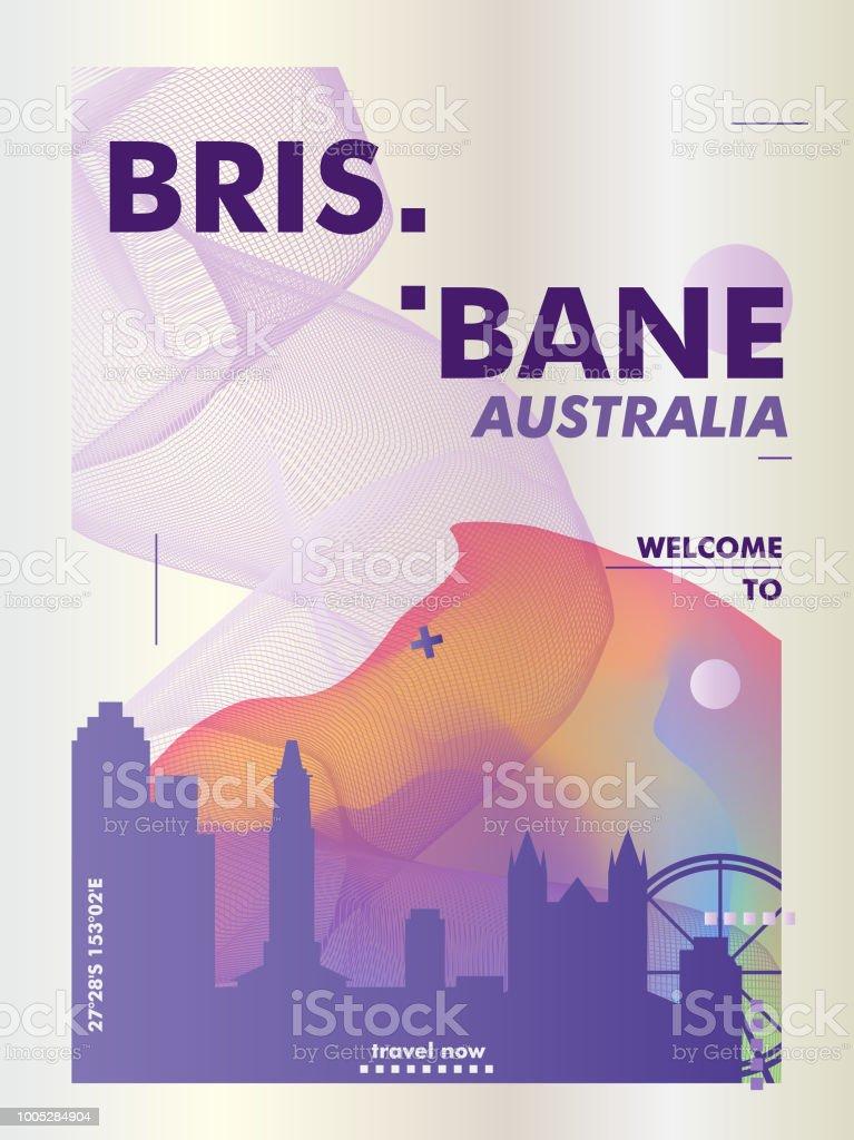 Australia Brisbane skyline city gradient vector poster vector art illustration