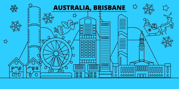 Australia, Brisbane winter holidays skyline. Merry Christmas, Happy New Year decorated banner with Santa Claus.Flat, outline vector.Australia, Brisbane linear christmas city illustration vector art illustration