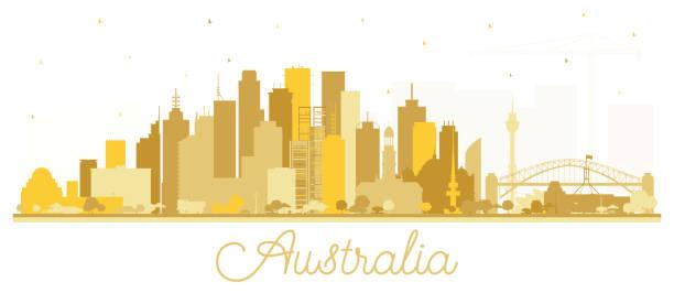 bildbanksillustrationer, clip art samt tecknat material och ikoner med australien city skyline silhouette med gyllene byggnader isolerade på vitt. - canberra skyline