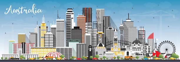 bildbanksillustrationer, clip art samt tecknat material och ikoner med australien stadssilhuett med grå byggnader och blå himmel. - canberra skyline